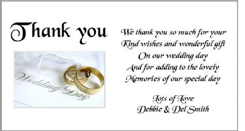 Thank You Gift Cards Wedding Personalised -  Wedding Day Rings Design x 10